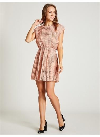 Vekem-Limited Edition Beli Büzgülü Dantel Elbise Pudra